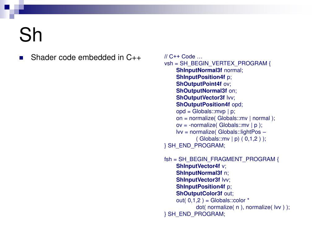Shader code embedded in C++
