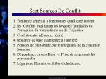 sept sources de conflit