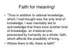 faith for meaning