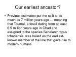 our earliest ancestor