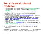 ten universal rules of evidence48