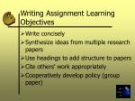 writing assignment learning objectives