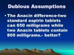 dubious assumptions