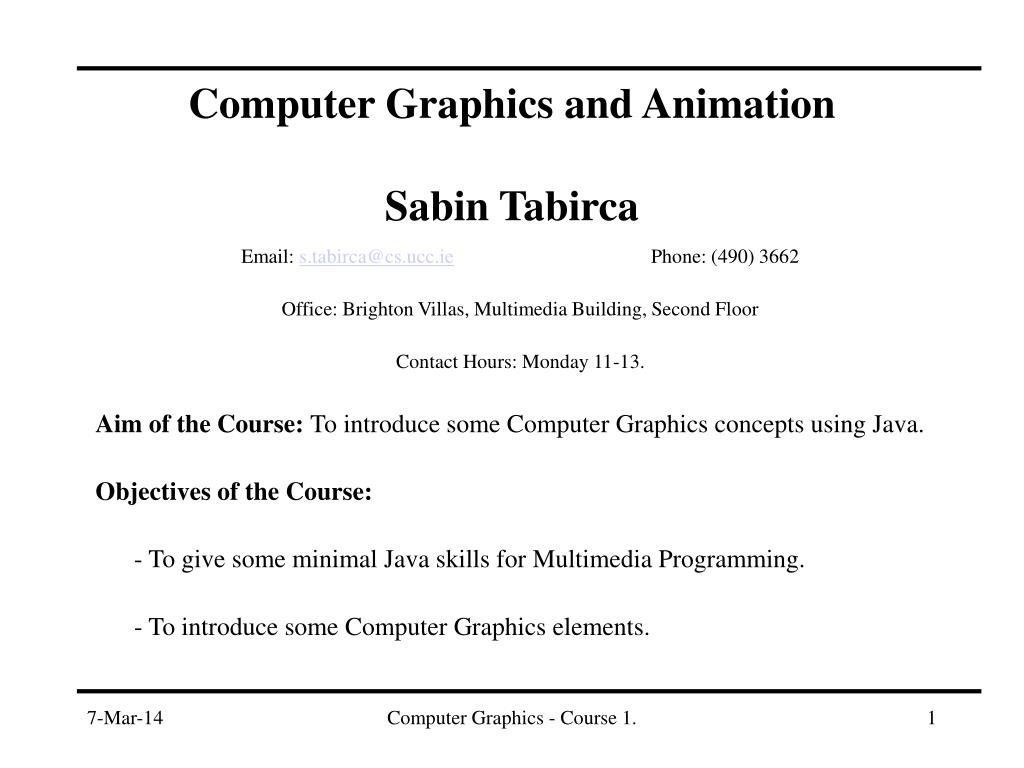 computer graphics and animation sabin tabirca l.