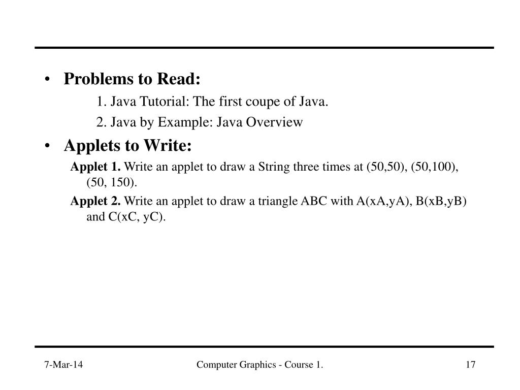 Problems to Read:
