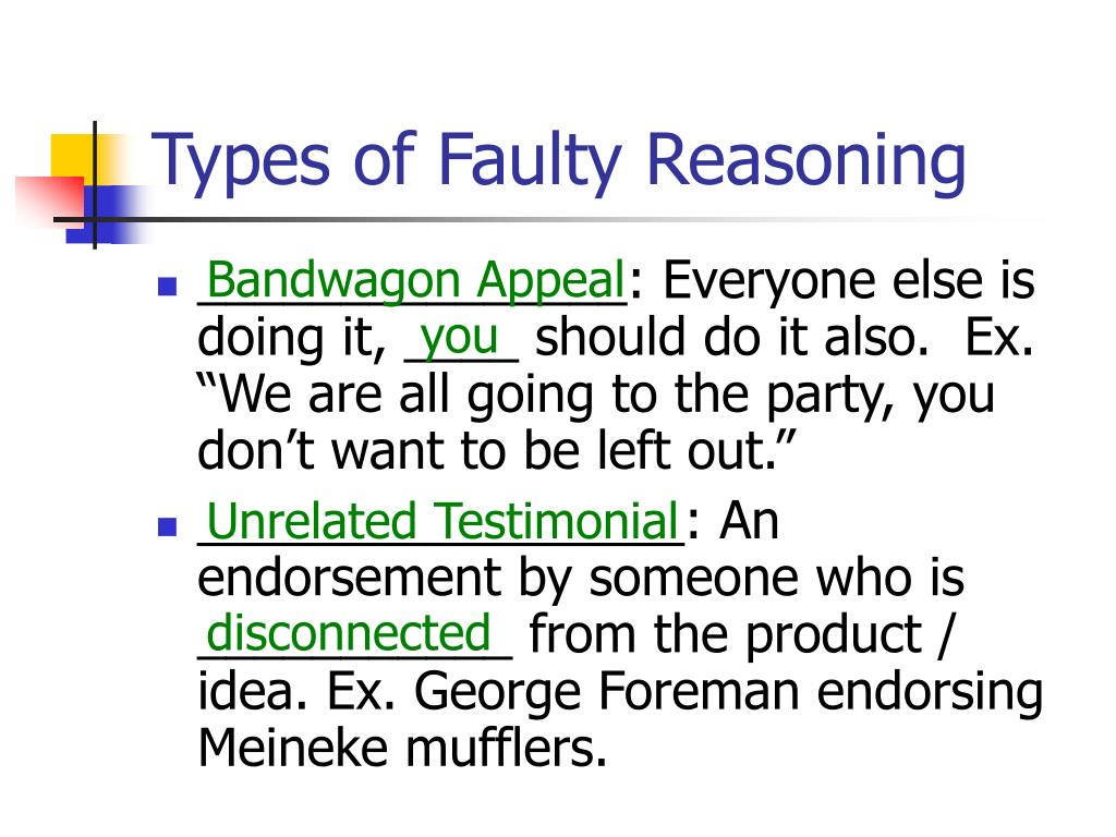 Types of Faulty Reasoning
