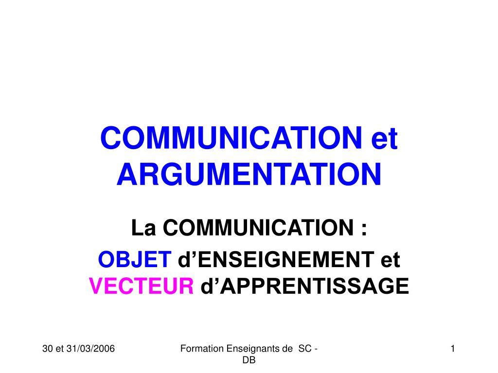 communication et argumentation l.