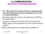 la communication vecteur d apprentissage