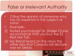 false or irrelevant authority