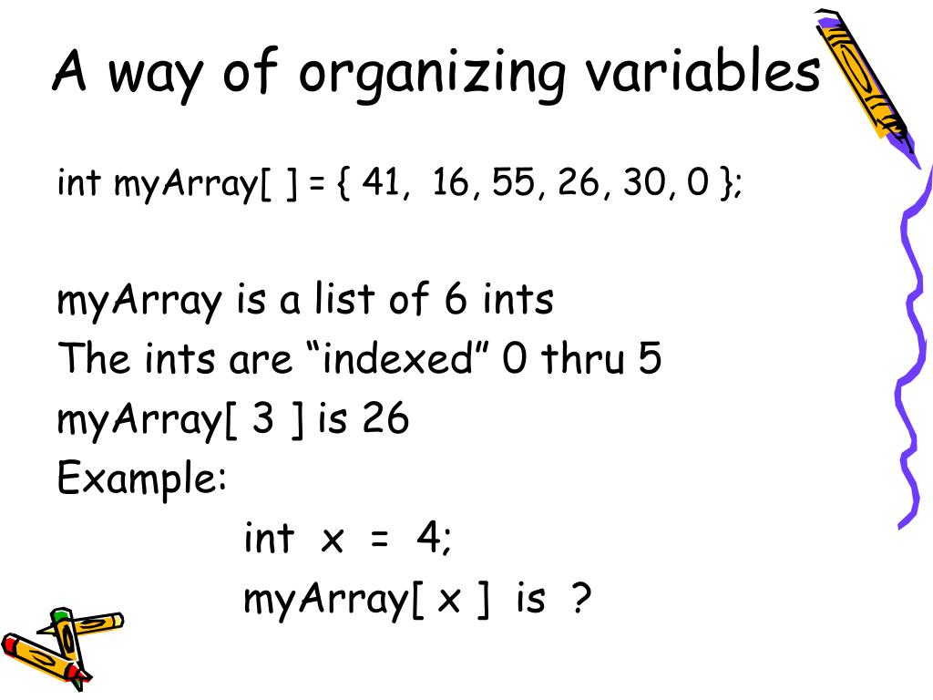 A way of organizing variables