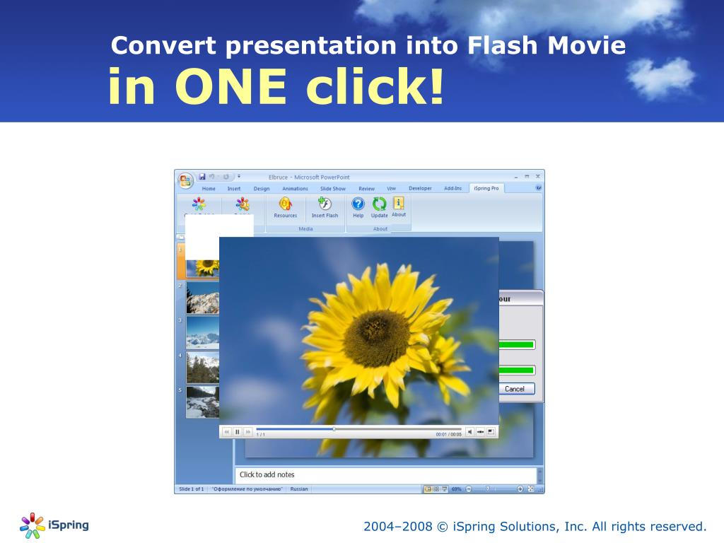 Convert presentation into Flash Movie