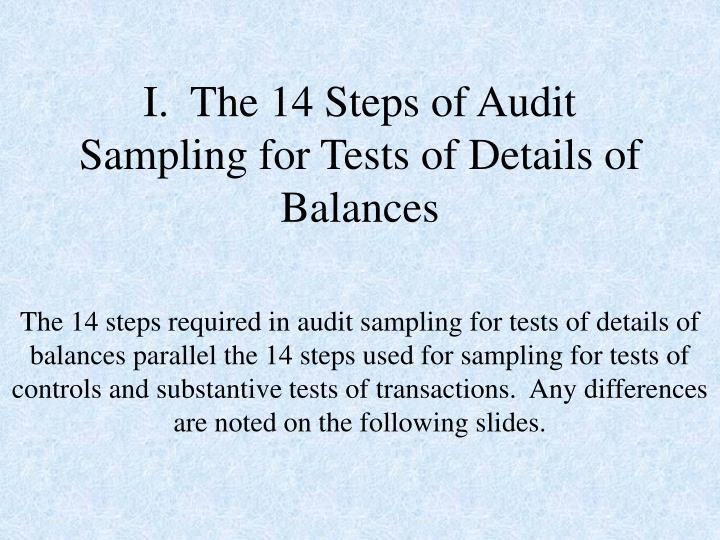 I the 14 steps of audit sampling for tests of details of balances