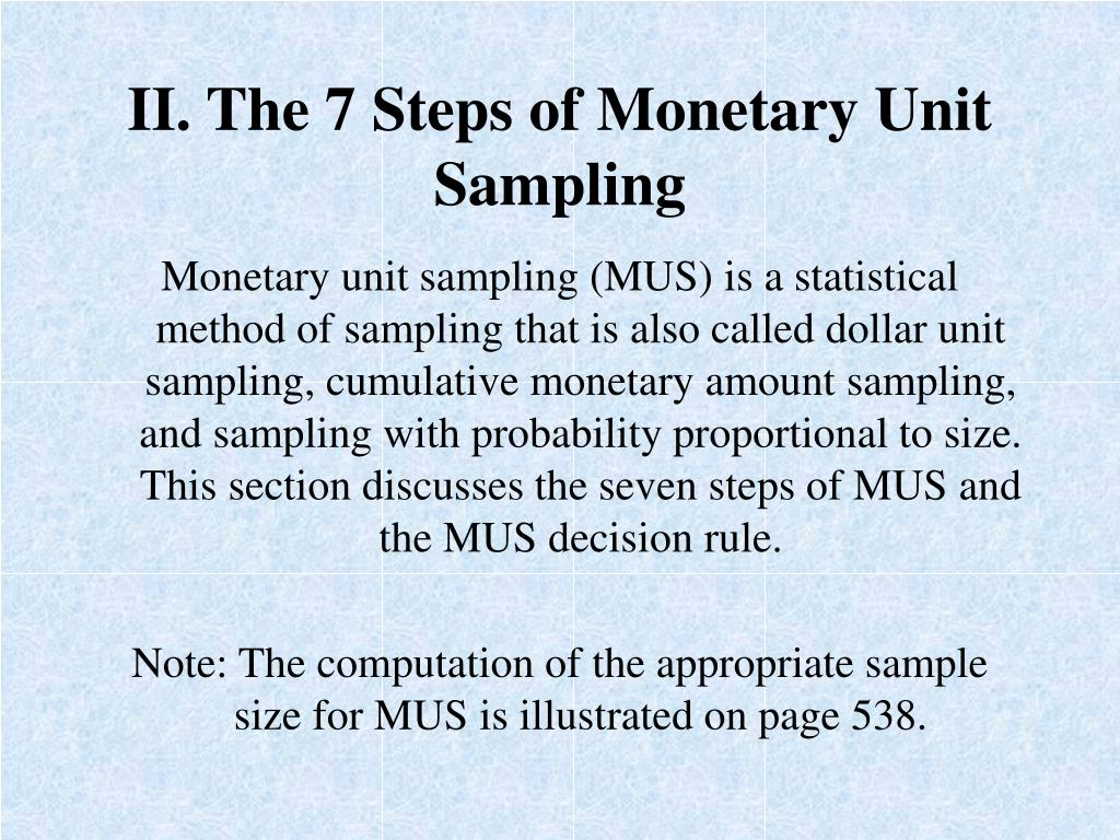 II. The 7 Steps of Monetary Unit Sampling