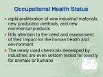 occupational health status