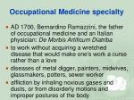 occupational medicine specialty