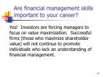 are financial management skills important to your career