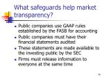 what safeguards help market transparency