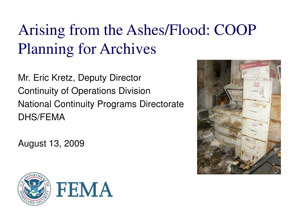 arising from the ashes flood coop planning for archives l.