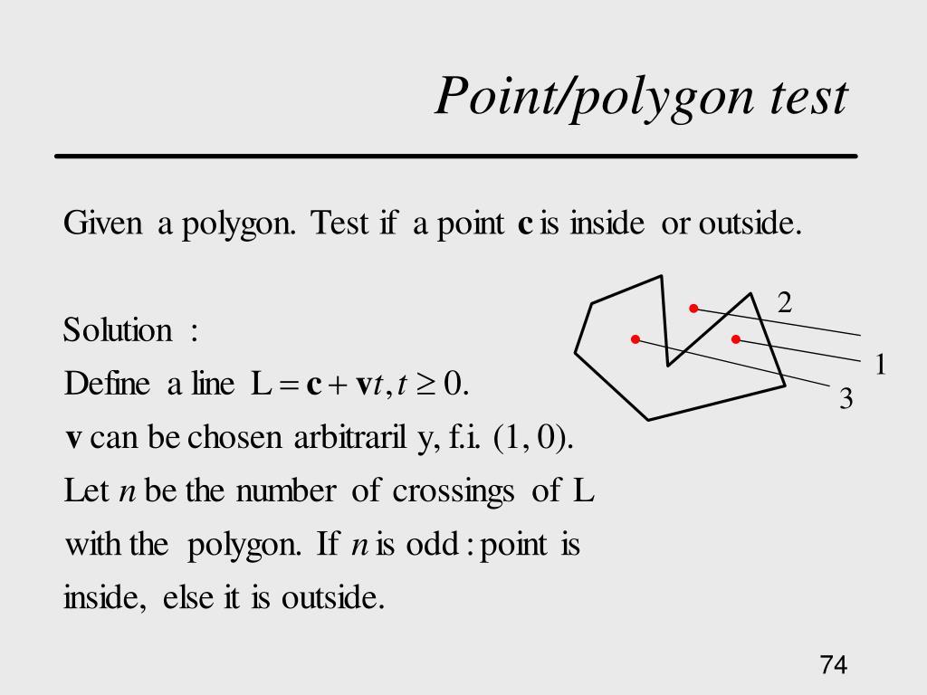 Point/polygon test