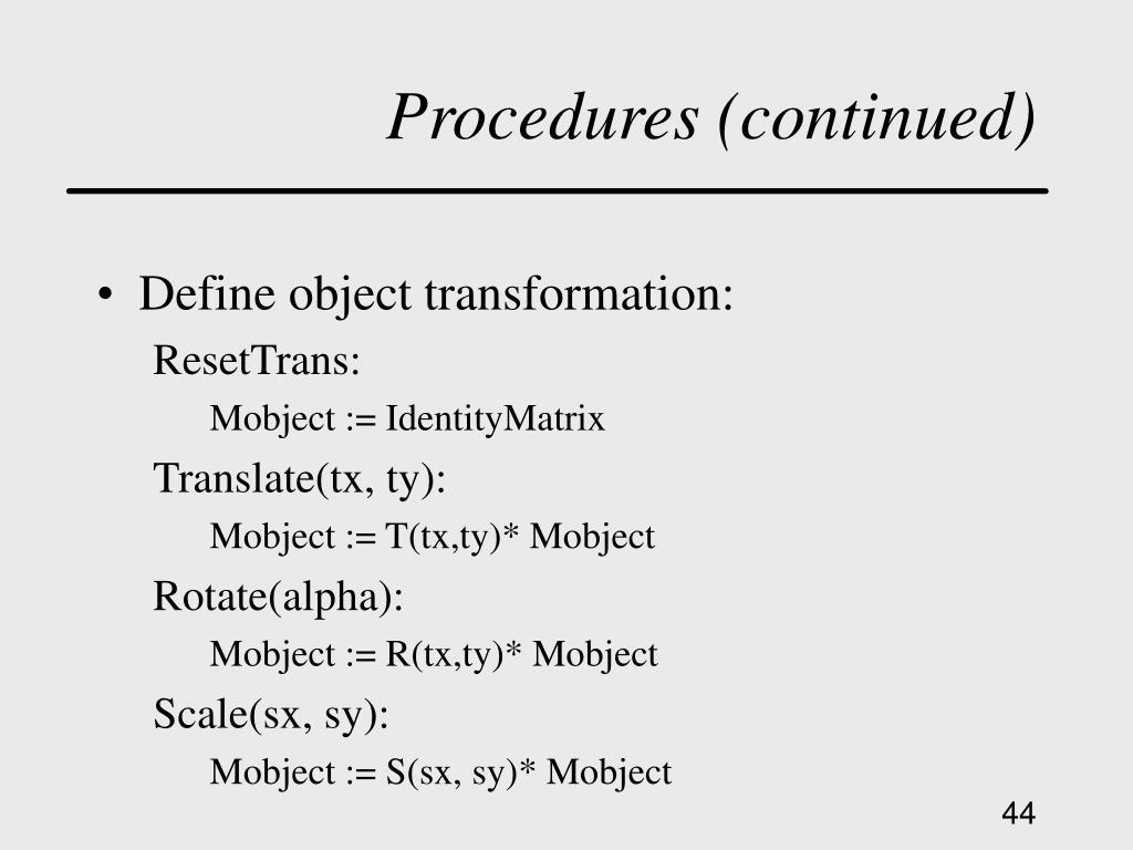Procedures (continued)