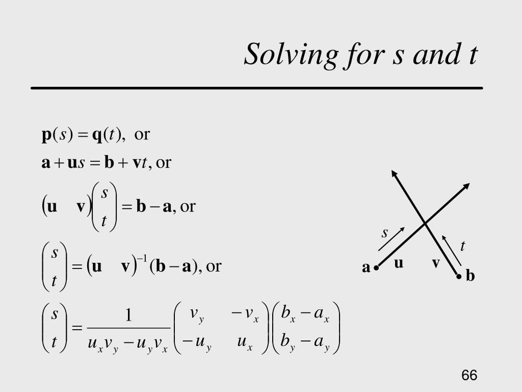 Solving for s and t