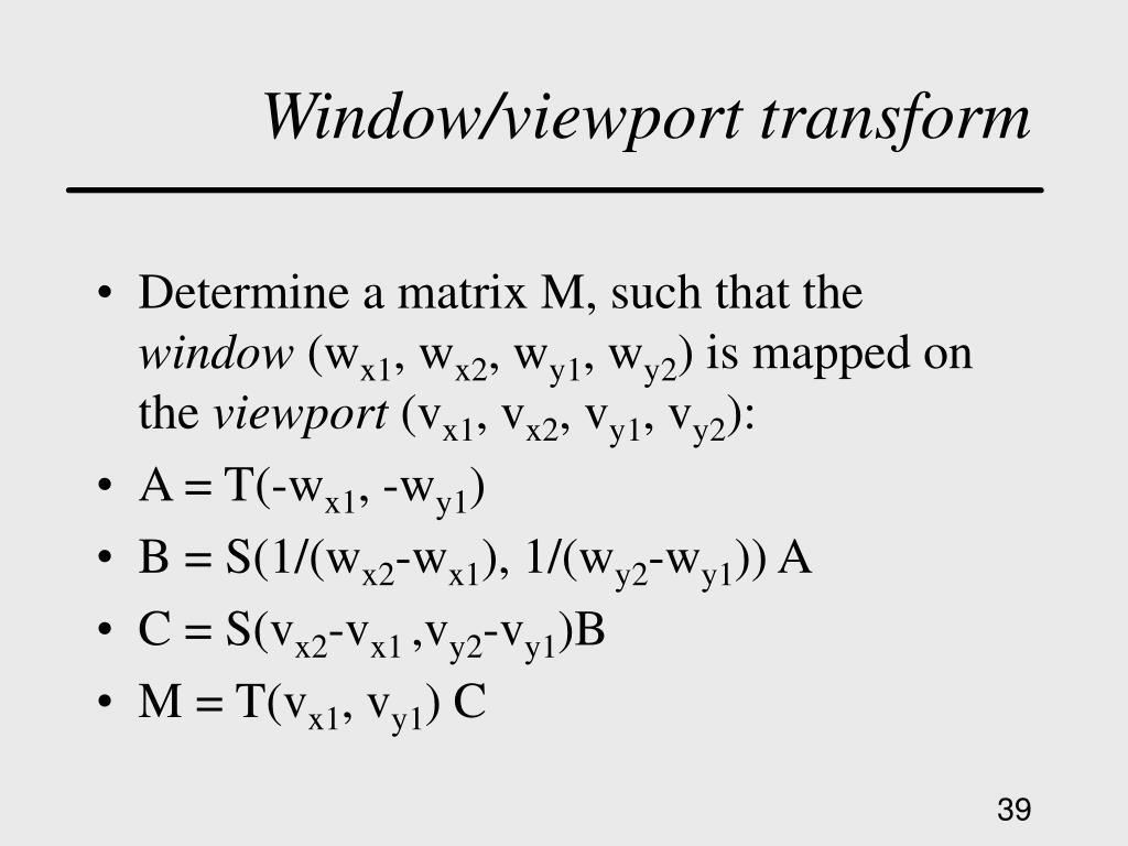 Window/viewport transform