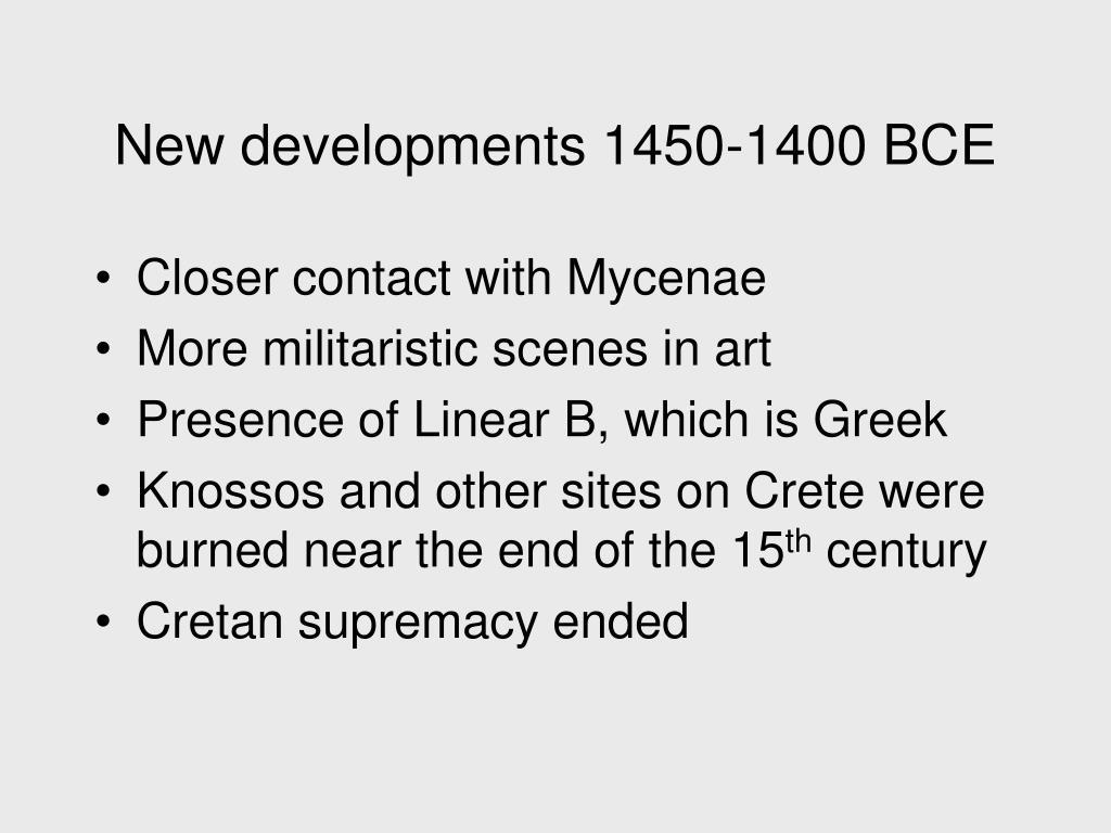 New developments 1450-1400 BCE