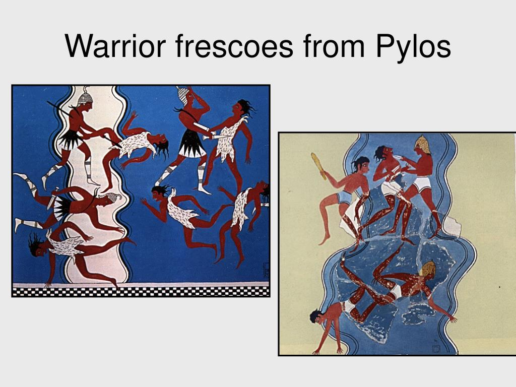 Warrior frescoes from Pylos