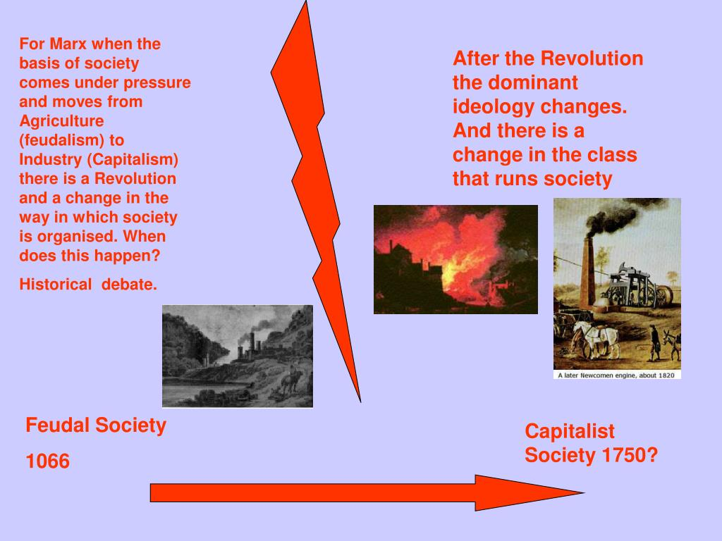 For Marx when the basis of society comes under pressure and moves from Agriculture (feudalism) to Industry (Capitalism) there is a Revolution and a change in the way in which society is organised. When does this happen?