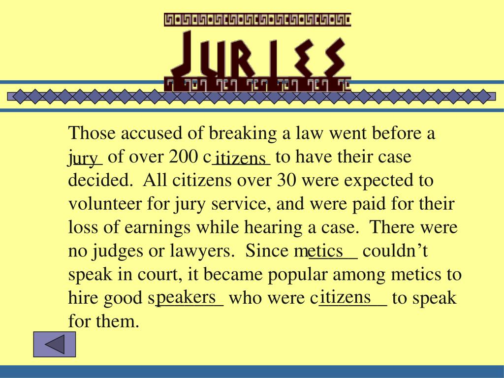 Those accused of breaking a law went before a j___ of over 200 c______ to have their case decided.  All citizens over 30 were expected to volunteer for jury service, and were paid for their loss of earnings while hearing a case.  There were no judges or lawyers.  Since m_____ couldn't speak in court, it became popular among metics to hire good s_______ who were c_______ to speak for them.