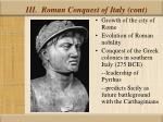 iii roman conquest of italy cont