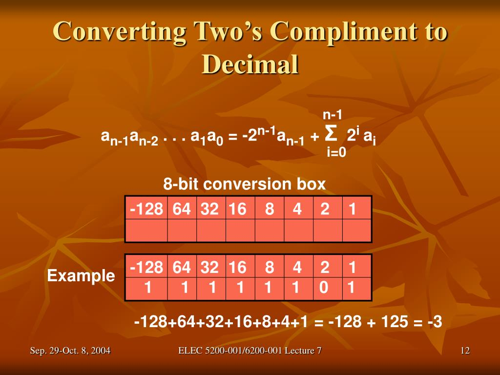 Converting Two's Compliment to Decimal