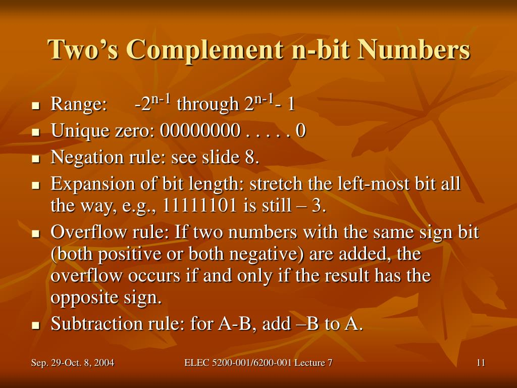 Two's Complement n-bit Numbers