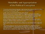 mutability and appropriation of the political conception