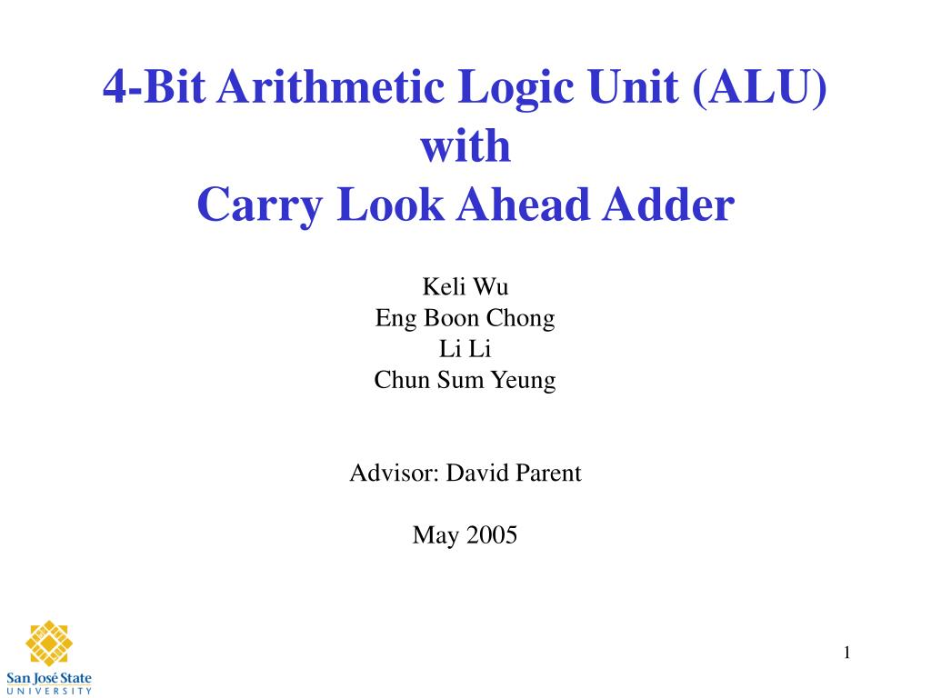 4 bit arithmetic logic unit alu with carry look ahead adder l.