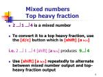 mixed numbers top heavy fraction