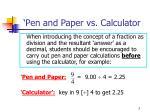 pen and paper vs calculator