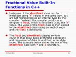 fractional value built in functions in c36
