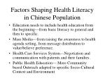 factors shaping health literacy in chinese population