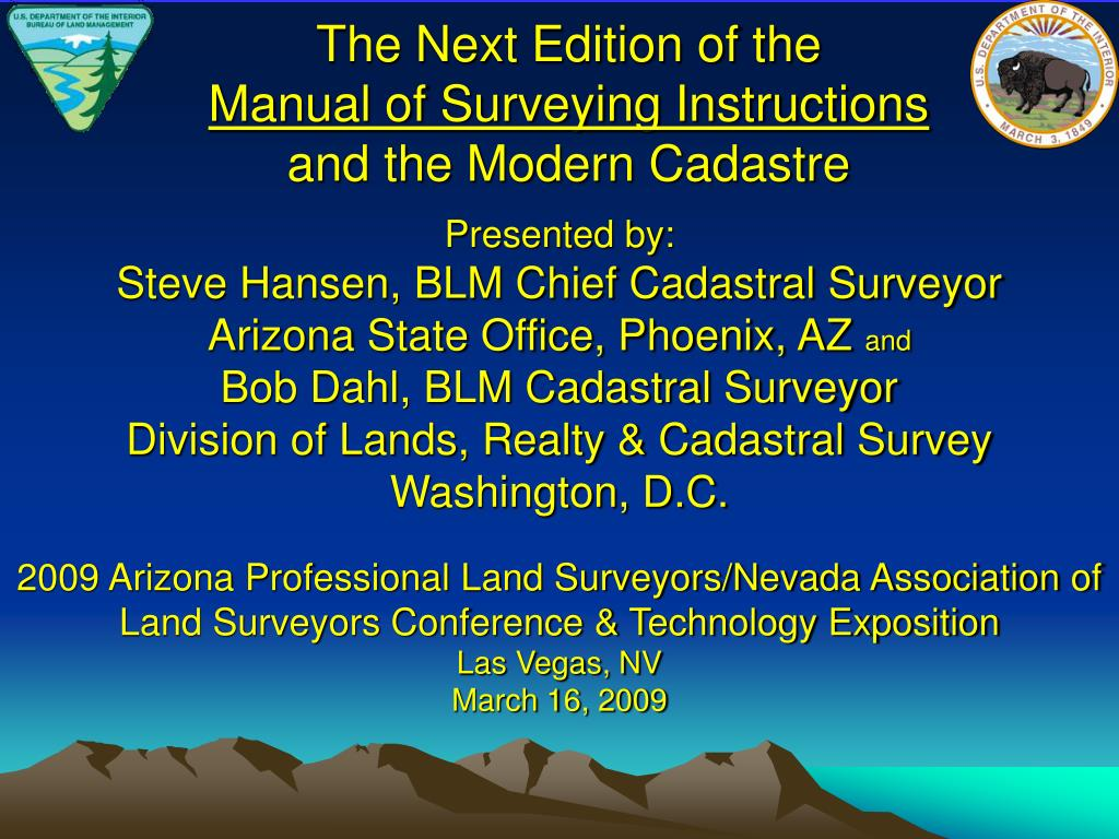 the next edition of the manual of surveying instructions and the modern cadastre l.
