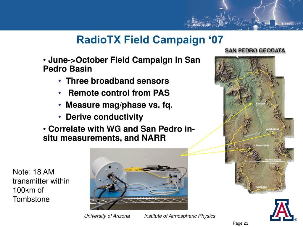 RadioTX Field Campaign '07