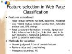 feature selection in web page classification