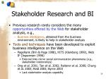 stakeholder research and bi