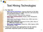 text mining technologies