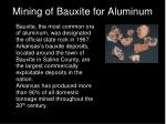 mining of bauxite for aluminum