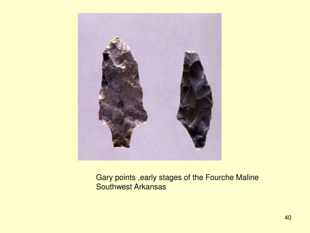 Gary points ,early stages of the Fourche Maline