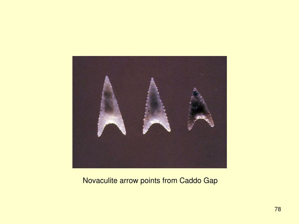 Novaculite arrow points from Caddo Gap