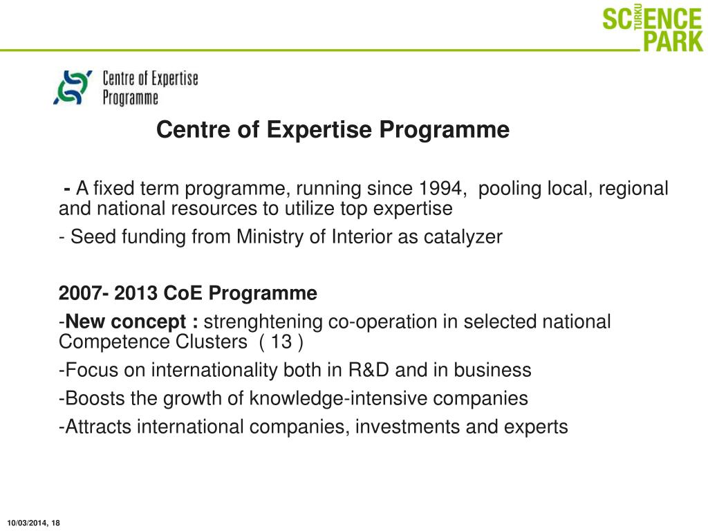 Centre of Expertise Programme
