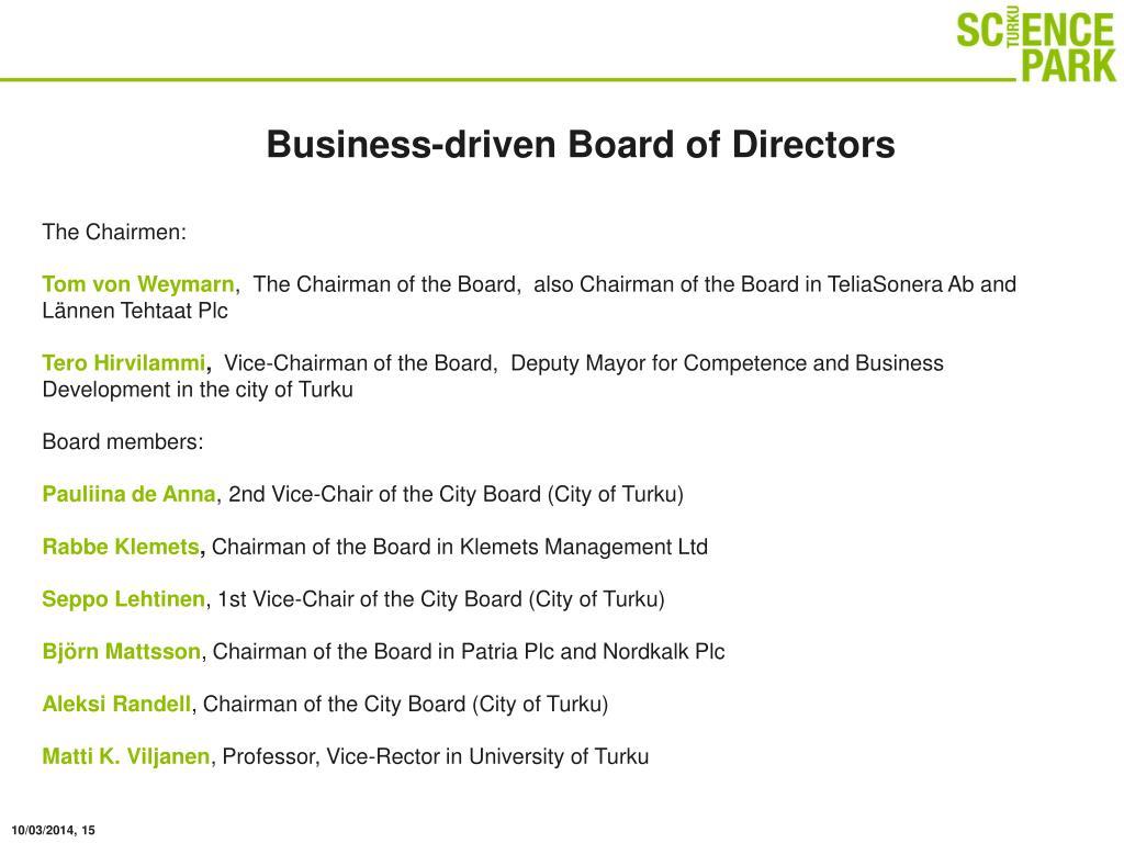 Business-driven Board of Directors