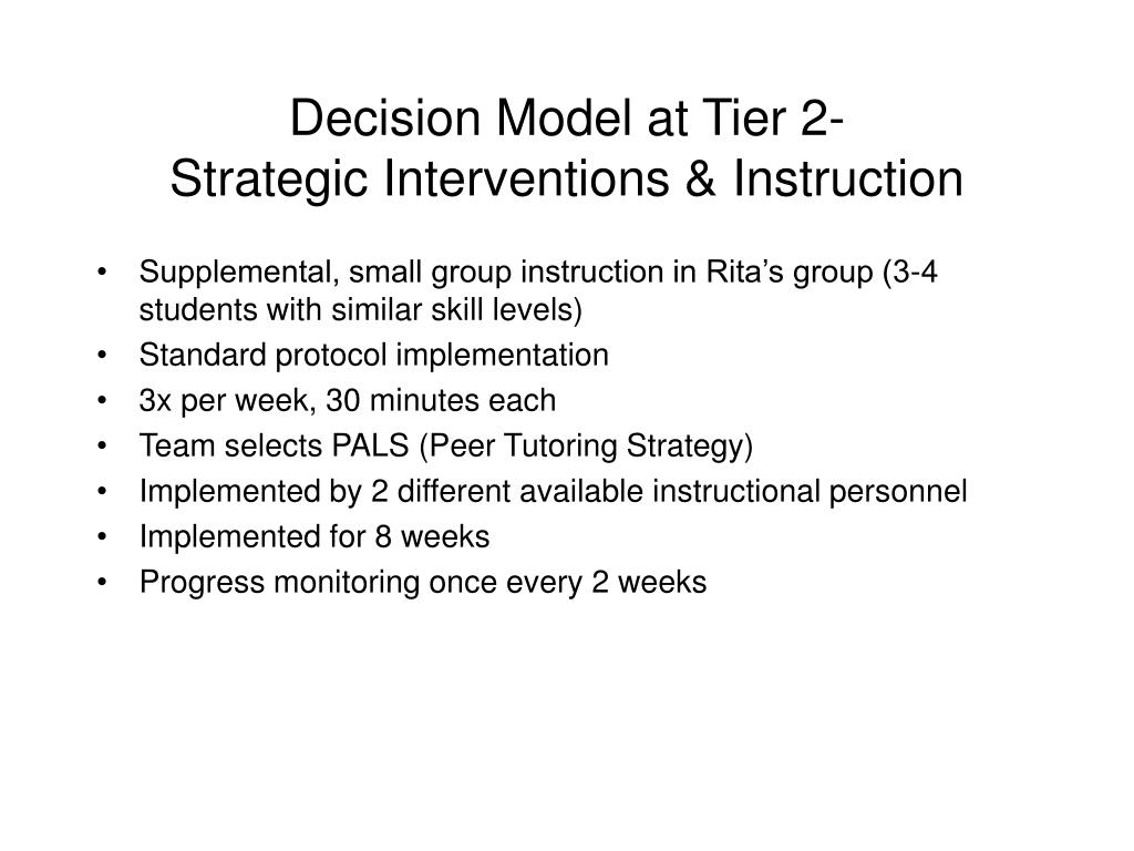 Decision Model at Tier 2-